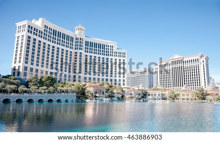 Bellagio, Las Vegas - January 13, 2016: Bellagio (front left) opened in 1998. It has 3,950 rooms with a total of 116,000 sq ft in gaming space. Caesars Palace (far right) opened in 1966.
