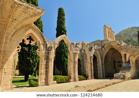 Bellapais Abbey Monastery in Kyrenia. Turkish side of the island of Cyprus. - stock photo