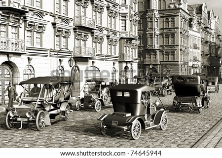 Belle Epoque , city and autos retro - stock photo