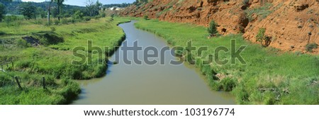 Belle Fourche River, Wyoming - stock photo
