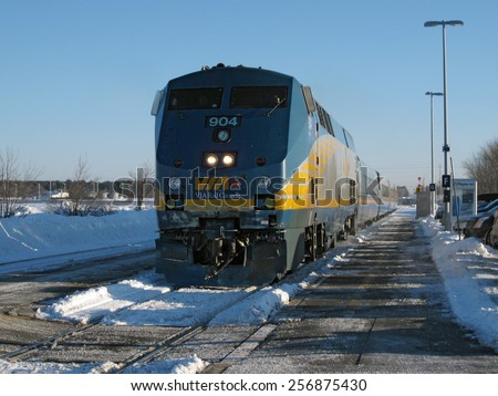 BELLEVILLE, ONTARIO - FEB 28: Man arrested after causing disturbance on Via Rail train near Belleville, Ontario on Feb. 28, 2015. - stock photo