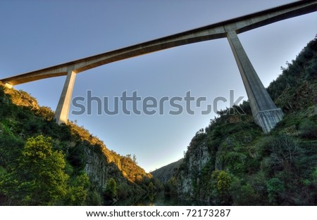 bellow perspective of one of the tallest bridges in Portugal