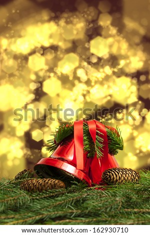 Bells and Cones in Portrait Xmas Setting - stock photo