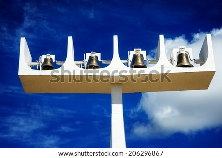 Bells outside the Cathedral of Brasilia, Brazil