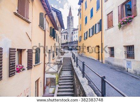 Belluno, province of Belluno, Veneto region, Northern Italy-August 22, 2007: Images of colorful streets, buildings and house in Belluno, the most important city in the Eastern Dolomites.