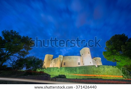 Bellver Castle by nigh in Majorca, wide angle - stock photo