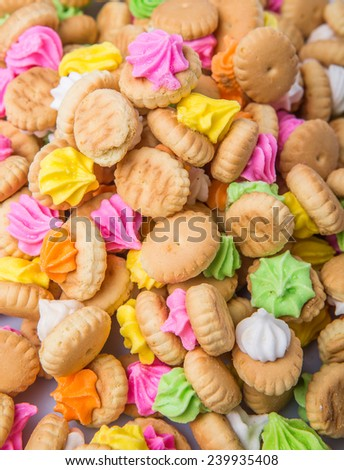 Belly button iced gem biscuits - stock photo