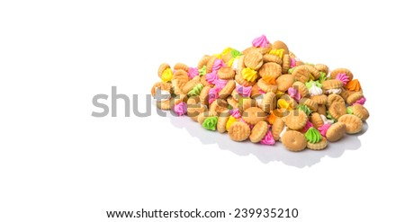 Belly button iced gem biscuits over white background - stock photo