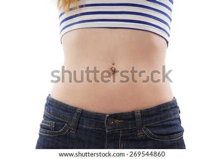 belly button or navel piercing isolated on white - stock photo