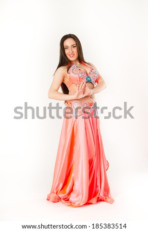 Belly dance woman in studio