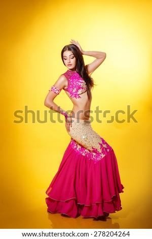 Belly dancer woman Arabian beauty bellydance female, oriental dancer woman,bollywood  indian girl, bellydance, studio isolated. series - stock photo