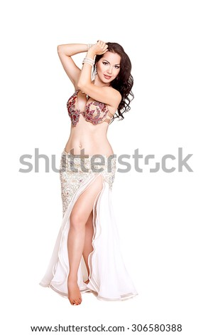 Belly dancer woman Arabian beauty, oriental dancer woman, long curly hair brunette woman. series - stock photo
