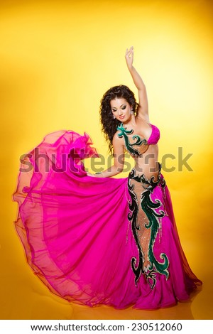 Belly dancer woman Beautiful exotic arabian girl, sexy woman, belly dance, gorgeous indian woman, studio isolated, series - stock photo