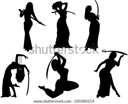 belly dancing black woman with swords silhouette on white - stock photo