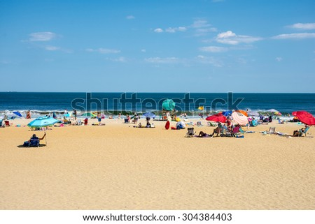 BELMAR, NEW JERSEY-AUGUST 1- A heat wave made for a perfect beach day on August 1 2015 in Belmar New Jersey.