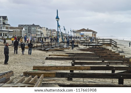 BELMAR, NEW JERSEY/USA -Â?Â? OCTOBER 30: The damaged boardwalk along the beach the day after Hurricane Sandy on October 30, 2012 in Belmar New Jersey. - stock photo