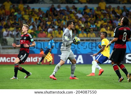 BELO HORIZONTE, BRAZIL - July 8, 2014: Brazil and Germany during the World Cup Semi-finals game between Brazil and Germany at Mineirao Stadium. NO USE IN BRAZIL