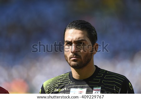 Belo Horizonte, Brazil - June 21, 2014: Alireza HAGHIGHI of Iran during the FIFA 2014 World Cup. Argentina is facing Iran in the Group F at Minerao Stadium