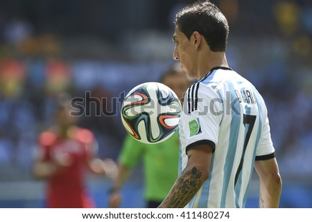 Belo Horizonte, Brazil - June 21, 2014: Angel DI MARIA of Argentina during the FIFA 2014 World Cup. Argentina is facing Iran in the Group F at Minerao Stadium