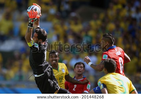 BELO HORIZONTE, BRAZIL - June 28, 2014: Claudio Bravo catch the ball at the 2014 World Cup Round of 16 game between Brazil and Chile at Mineirao Stadium. No Use in Brazil.