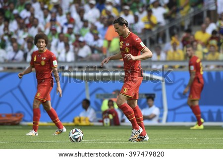 BELO HORIZONTE, BRAZIL - June 17, 2014: Daniel VAN BUYTEN of Belgium compete for the ball during the World Cup Group H game between Belgium and Algeria at Mineirao Stadium.