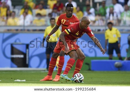 BELO HORIZONTE, BRAZIL - June 17, 2014: Divok Origi and Vincent Kompany of Belgium are seen during the 2014 World Cup Group H game between Belgium and Algeria at Mineirao Stadium.