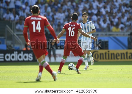 Belo Horizonte, Brazil - June 21, 2014: Fernando GAGO of Argentina during the FIFA 2014 World Cup. Argentina is facing Iran in the Group F at Minerao Stadium