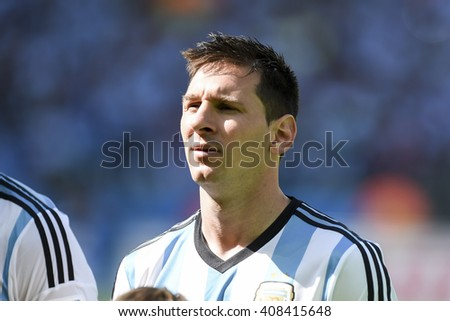 BELO HORIZONTE, BRAZIL - June 21, 2014: Lionel MESSI da Argentina during the FIFA 2014 World Cup. Argentina is facing Iran in the Group F at Minerao Stadium