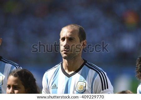 Belo Horizonte, Brazil - June 21, 2014: Pablo ZABALETA of Argentina during the FIFA 2014 World Cup. Argentina is facing Iran in the Group F at Minerao Stadium