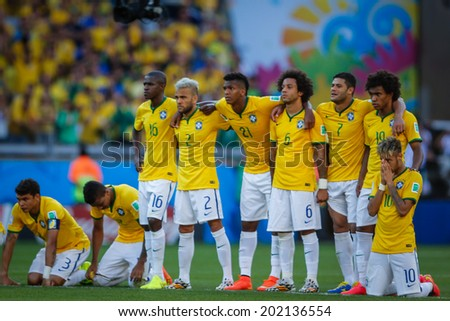 BELO HORIZONTE, BRAZIL - June 28, 2014: Players of Brazil during penalty kick at the 2014 World Cup Round of 16 game between Brazil and Chile at Mineirao Stadium. No Use in Brazil. - stock photo