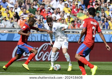 BELO HORIZONTE, BRAZIL-June 24, 2014: Randall BRENES of Costa Rica and Ross BARKLEY of England compete for the ball during the World Cup Group D game between Costa Rica and England at Estadio Mineirao