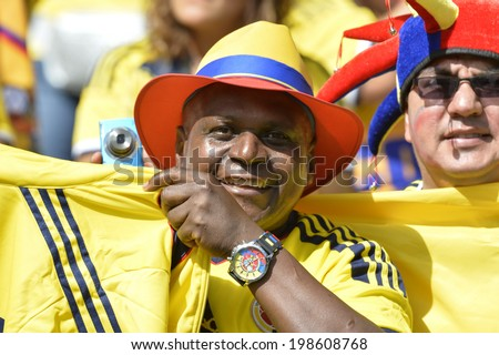 BELO HORIZONTE, BRAZIL - June 14, 2014: Soccer fans celebrating at the 2014 World Cup Group C game between Colombia and Greece at Mineirao Stadium.