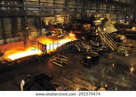 Belo Horizonte, Minas Gerais, Brazil :?? June. 27.2008 : steel casting at Usiminas, Brazil's biggest steel mill, the largest steel complex in Latin America - stock photo