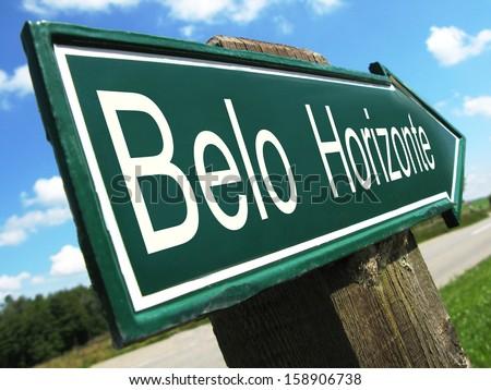 Belo Horizonte road sign - stock photo