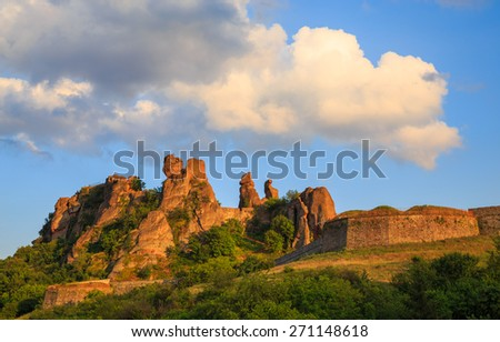 Belogradchik Fortress, also known as Kaleto, is an ancient fortress close to the northwestern Bulgarian town of Belogradchik and the town's primary cultural and historical tourist attraction. - stock photo