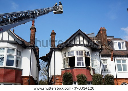 Belsize Park, London, UK, 13th March, 2016. Fire at three-story semi-detached house in Antrim Grove