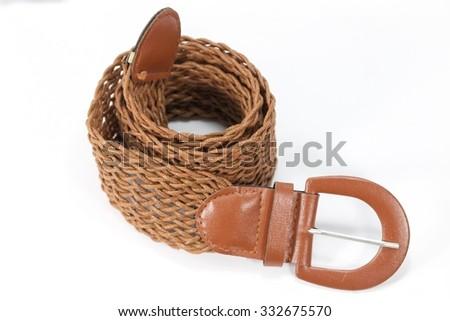 Belt accessory on white background - stock photo