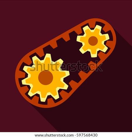 Belt and gear icon. Flat illustration of belt and gear  icon for web