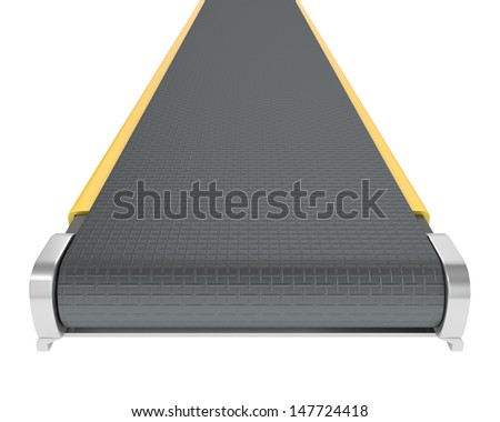 Belt conveyor isolated on white background - stock photo