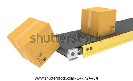 Belt conveyor with carton boxes isolated on white background - stock photo