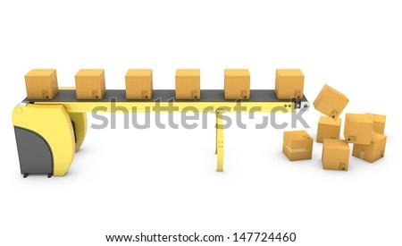 Belt conveyor with falling carton boxes isolated on white background - stock photo