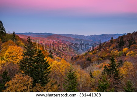 Belt of Venus and fall foliage at the Oconaluftee Overlook in the Great Smoky Mountains  - stock photo