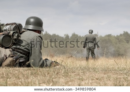 BELTRING, UK - JULY 23, 2010: Historical reenactors dressed as World War 2 German troops at the War and Peace Event at Hop Farm