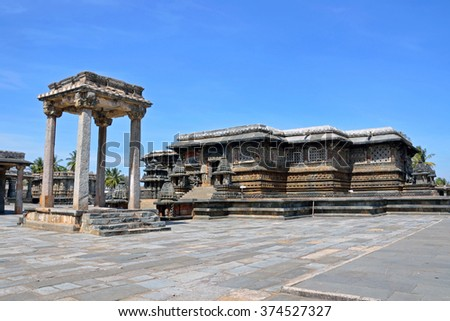 BELUR, INDIA - FEBRUARY 2 2016: Chennakesava Temple is a form of the Hindu god Vishnu and was built by the Hoysala Empire King Vishnuvardhana in the twelfth century.
