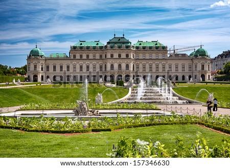 Belvedere art gallery gardens in Vienna, Austria. - stock photo