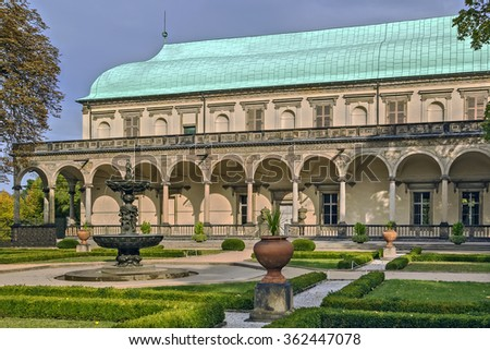 Belvedere or Royal or Queen Anne's Summer Palace is a prime example of Italian Renaissance in Prague, Czech republic - stock photo