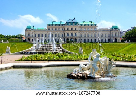 Belvedere Palace and fountains, Vienna, Austria - stock photo