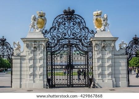 Belvedere Palace (1724), built by Johann Lukas von Hildebrandt as a summer residence for Prince Eugene of Savoy, in Vienna, Austria. Gates of Belvedere. - stock photo