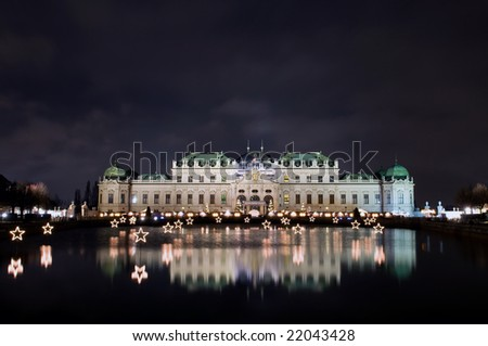 Belvedere palace in the night  in Vienna, Austria - stock photo