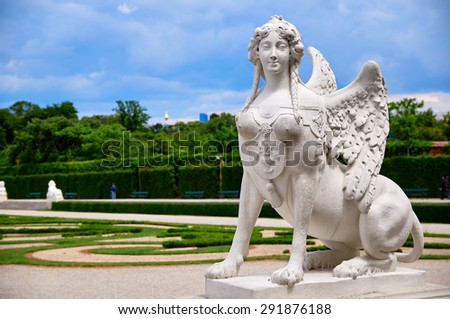 Belvedere sphinx on a cloudy summer day without people, Vienna, Wien, Austria - stock photo